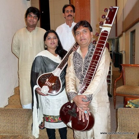 Sitarist Ustad Mokhsin Ali Khan (front right) with his team