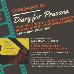 Freedom Film Festival 2017: 'Diary for Prasana' (4 Nov 2017)