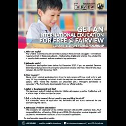 Fairview to Offer Ten Full Scholarships Worth RM1.2 Million
