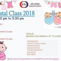 KPJ Ipoh Specialist Hospital Antenatal Classes for 2018