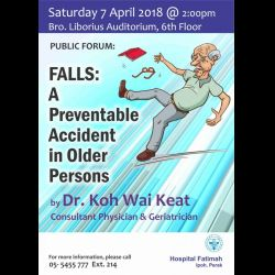 Public Forum: 'Falls - A Preventable Accident in Older Persons (7 Apr 2018)