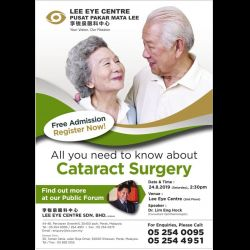 Forum: All You Need to Know About Cataract Surgery (24 Aug 2019)