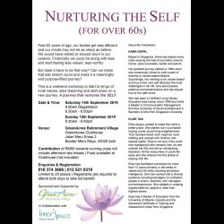 Workshop: Nurturing the Self (for the over 60s) (14 & 15 Sep 2019)