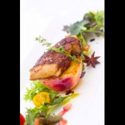 Pan Seared Foie Gras on Caramelised Spiced White Peach