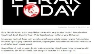 Photo of Public Announcement by Hospital Fatimah, Ipoh