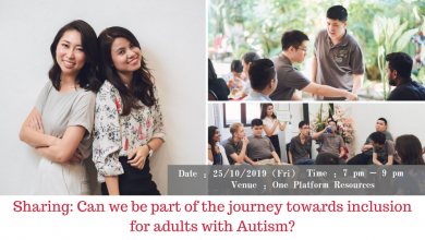 Photo of Sharing: Can we be part of the journey towards inclusion for adults with Autism? (25 Oct 2019)