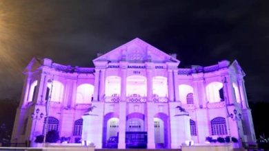 Photo of Fountain and Town Hall Lit in Purple