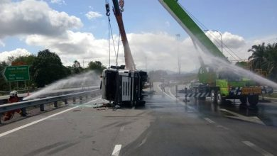 Photo of Highway Accident Involving a Tank Truck; No Leakage Found