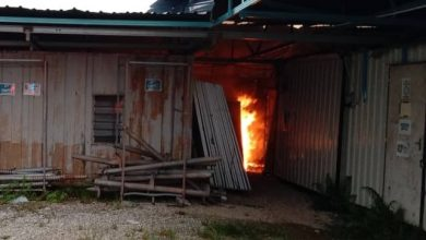 Photo of Solar Farm Workers' Containers Damaged by Fire, No Victims Reported