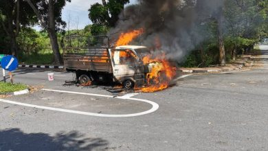 Photo of Lorry Fire at Bercham, No Victims Reported