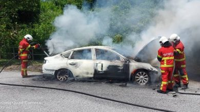 Photo of Driver Escaped from Burning Car