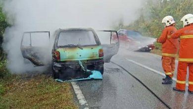 Photo of Car Fire at Kampung Gajah, Three Victims Escaped Unharmed